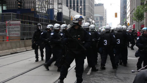 Protesters tease and imitate riot police unit - HD Footage