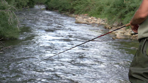 Fishing on the Mountain River Footage