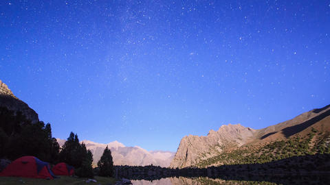 Moonlit night in the mountains. Time Lapse. Pamir, Footage