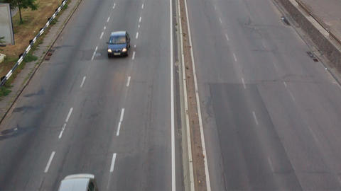 Cars on the highway timelapse, closeup view Footage