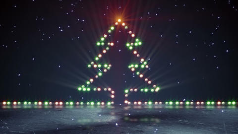 christmas tree shape lights on ice loopable Animation