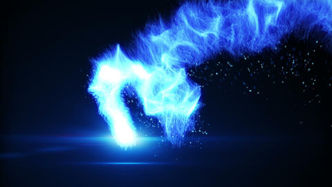 flying blue plasma ball loop Animation