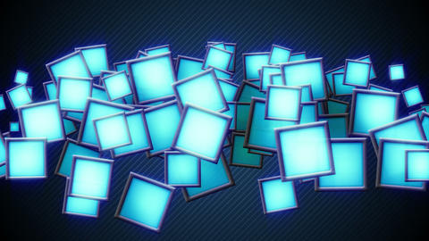 glowing blue squars techno loop background Animation