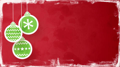 christmas balls on red loopable background Animation