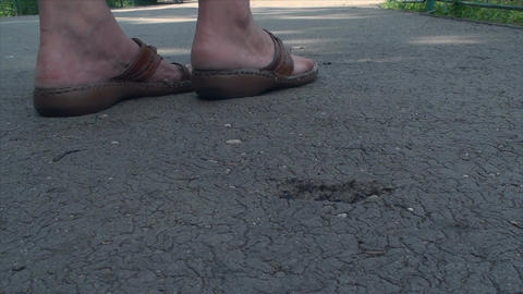 Heel Sinking In Asphalt, Summer Heat, Melted, Low  Footage