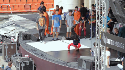 B Boy Dance Contest, People Warming Up For Battle, Live Action