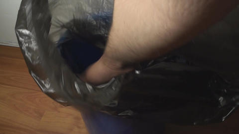 Men Hands Putting Trash Bag In A Trash Bin, Office Footage