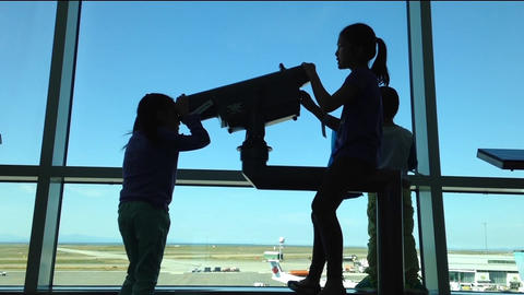 Silhouette of children close up looks through wind Footage