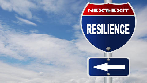 Resilience road sign with flowing clouds Footage