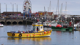 Fishing Boat In Scarborough Harbour stock footage