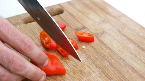 Cutting Red Chili Pepper stock footage