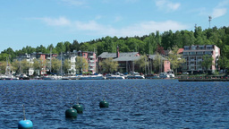 View Of The City From The Water stock footage