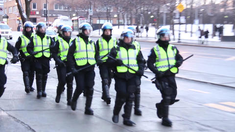 Riot police team marching and patrolling Footage