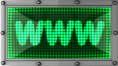 www announcement on the LED display Stock Video Footage