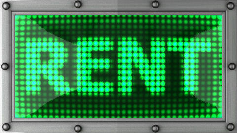 rent announcement on the LED display Stock Video Footage