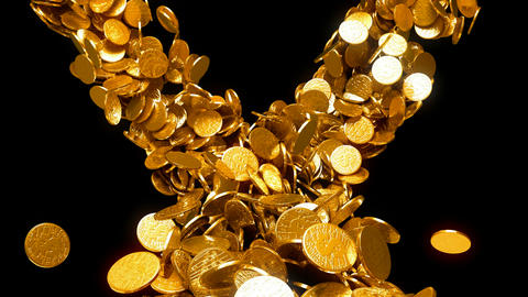 Y-shaped coins flow with slow motion. Wealth and money Stock Video Footage