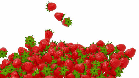 Strawberry flow or stream with slow motion over white Stock Video Footage