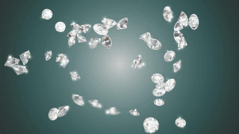 Large diamonds swirl flow with slow motion Stock Video Footage