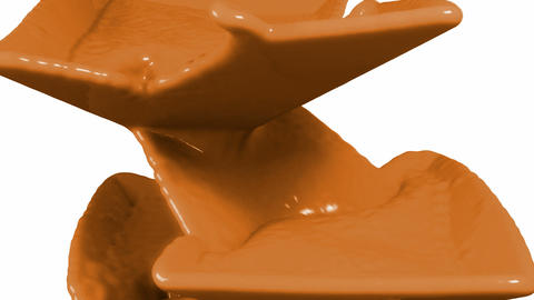 Liquid milky chocolate flow over white background Stock Video Footage