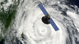 Satellite Floating Above Hurricane Stock Video Footage