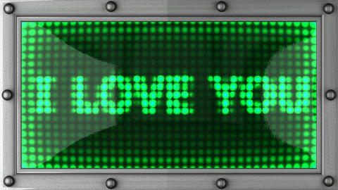 I love you. announcement on the LED display Stock Video Footage