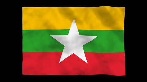National Flag A087b MMR Myanmar stock footage