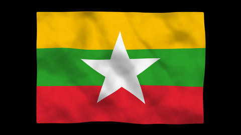 National Flag A087b MMR Myanmar Stock Video Footage