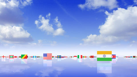 World Flags 3MFss Stock Video Footage
