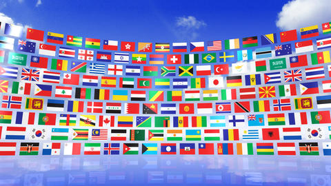 World Flags 3RMbs Stock Video Footage