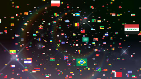 World Flags 3SFbb Stock Video Footage