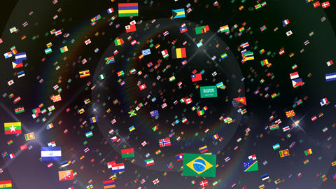 World Flags 3SRbb Stock Video Footage