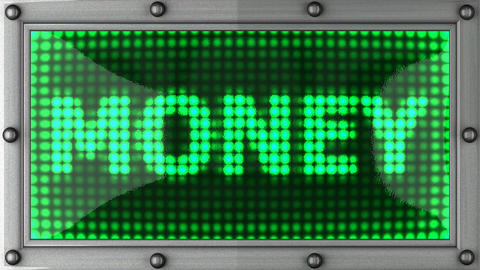 money announcement on the LED display Animation
