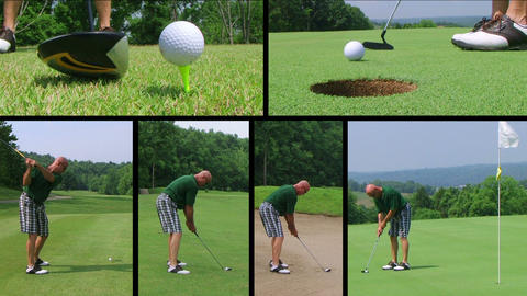 Golf Player Composite Stock Video Footage