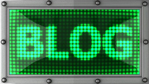 blog announcement on the LED display Stock Video Footage