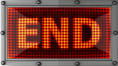 end announcement on the LED display Stock Video Footage