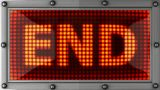 End Announcement On The LED Display stock footage