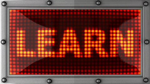 learn announcement on the LED display Stock Video Footage