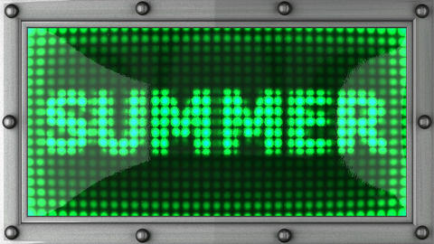 summer announcement on the LED display Stock Video Footage