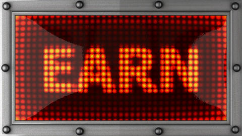 earn announcement on the LED display Stock Video Footage
