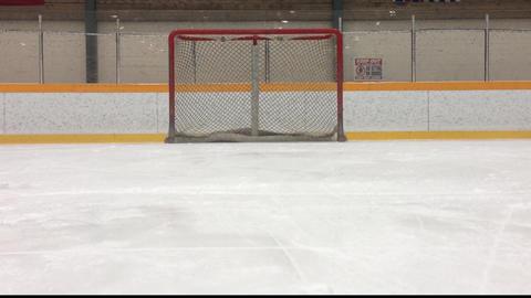 Empty Ice Hockey Net stock footage