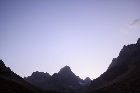 Moon lights the mountains. Time Lapse. Pamir. 4K+ Footage