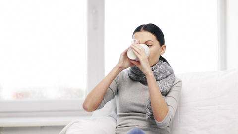 ill woman with flu at home Footage