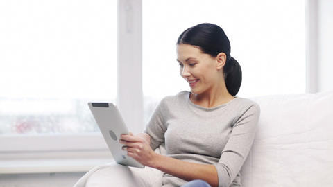 smiling student girl or woman with tablet pc Footage