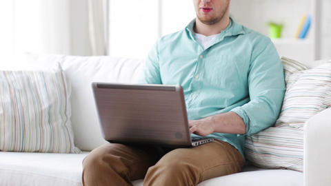 man working with laptop at home Footage