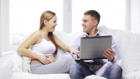 Happy Family Looking With Laptop Computer stock footage