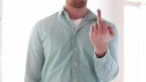 close up of man showing middle finger Footage
