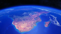 Planet Earth Rotating Over Southern Africa With Li stock footage