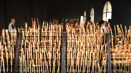 Canldestick With Candles And People In El Roc ío stock footage