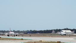 Airplane take off on runway Footage