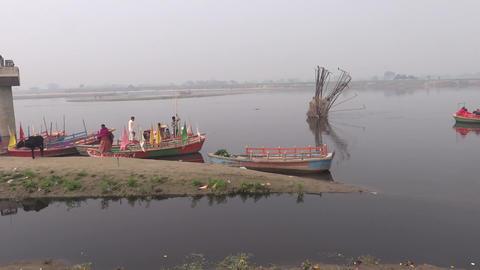 Boating in Yamuna river , Mathura Footage